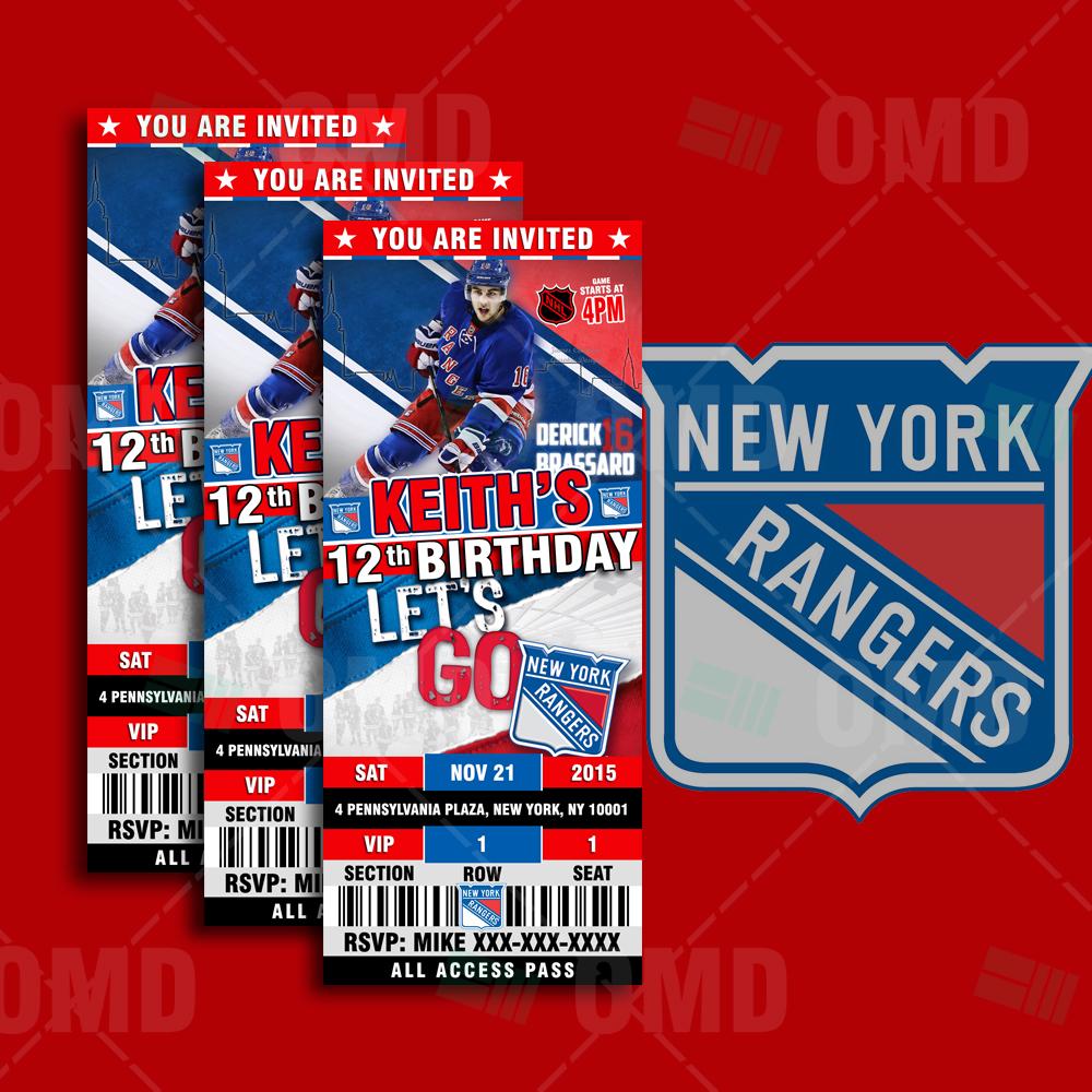 new york rangers sports party invitations  u2013 sports invites