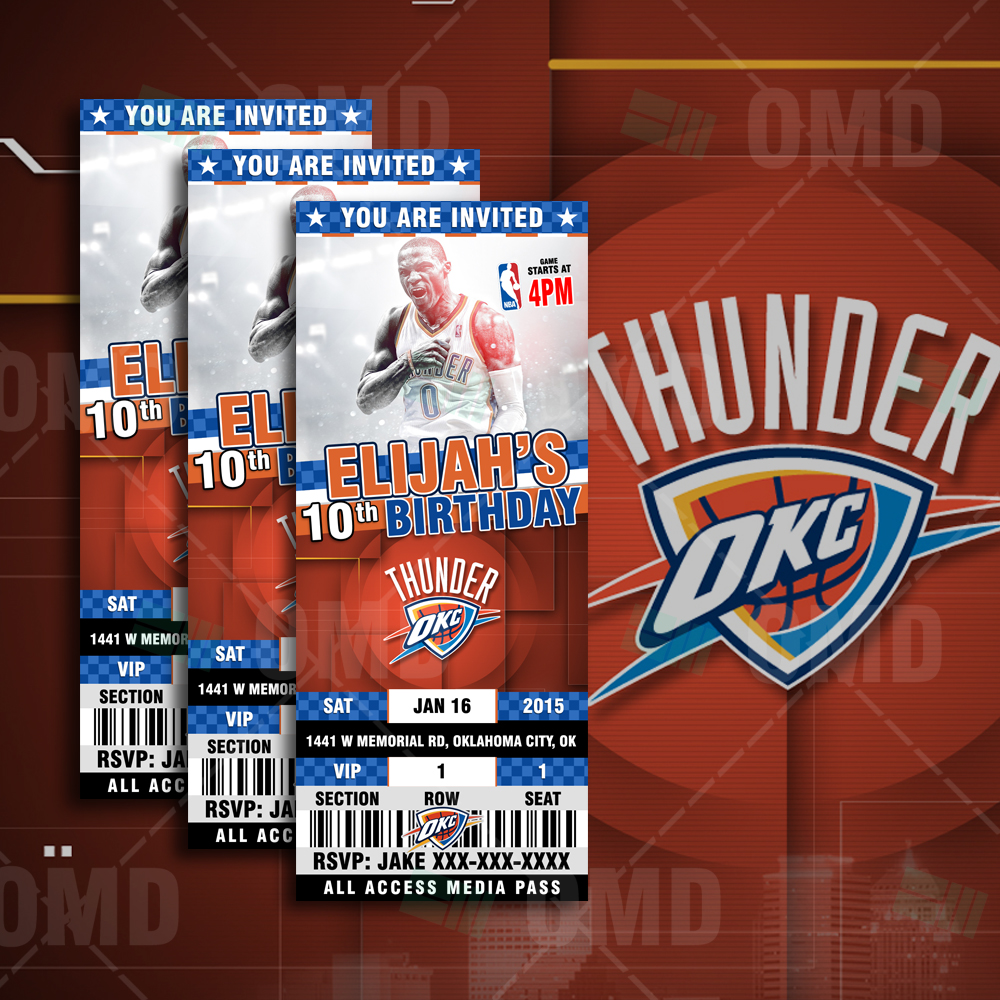 Oklahoma City Thunder Sports Ticket Style Party Invite
