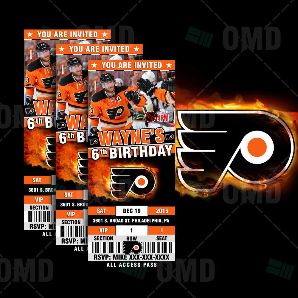 2 5 6 philadelphia flyers sports party invitations sports invites