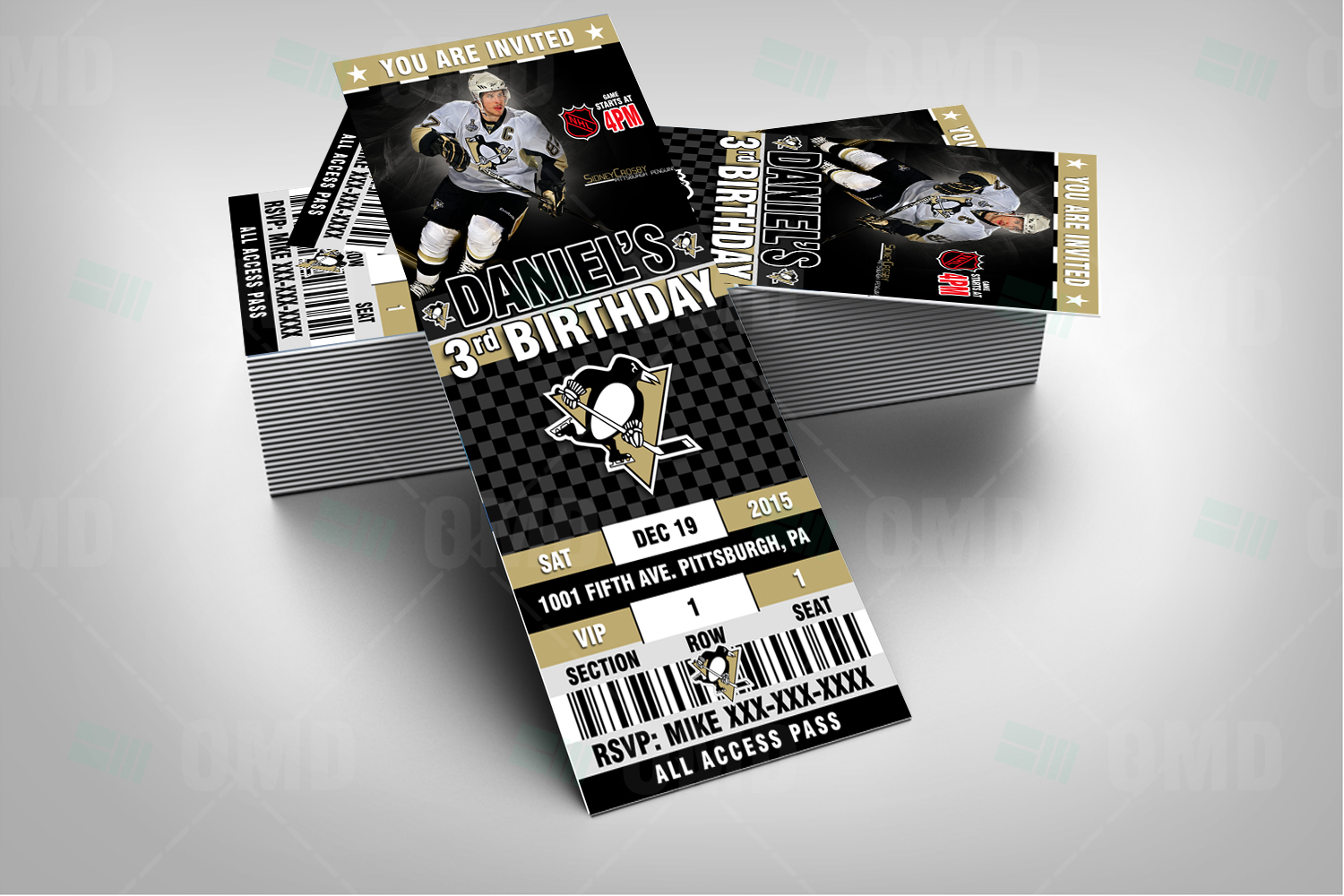 Hockey Wedding Invitations: Pittsburgh Penguins Ticket Style Sports Party Invitations