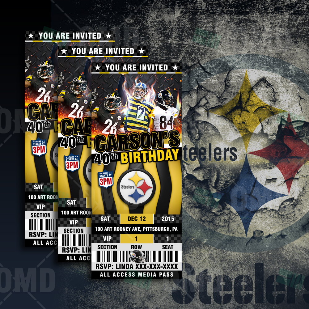 2 5 215 6 Pittsburgh Steelers Sports Party Invitations