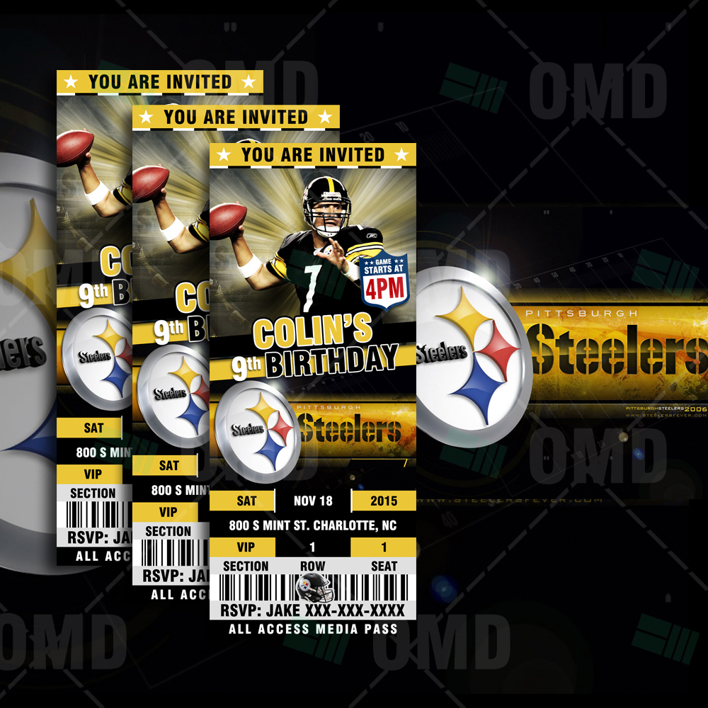 4fda8ddef3267 Pittsburgh Steelers Sports Party Invitations – 2.5×6″ – Sports Invites