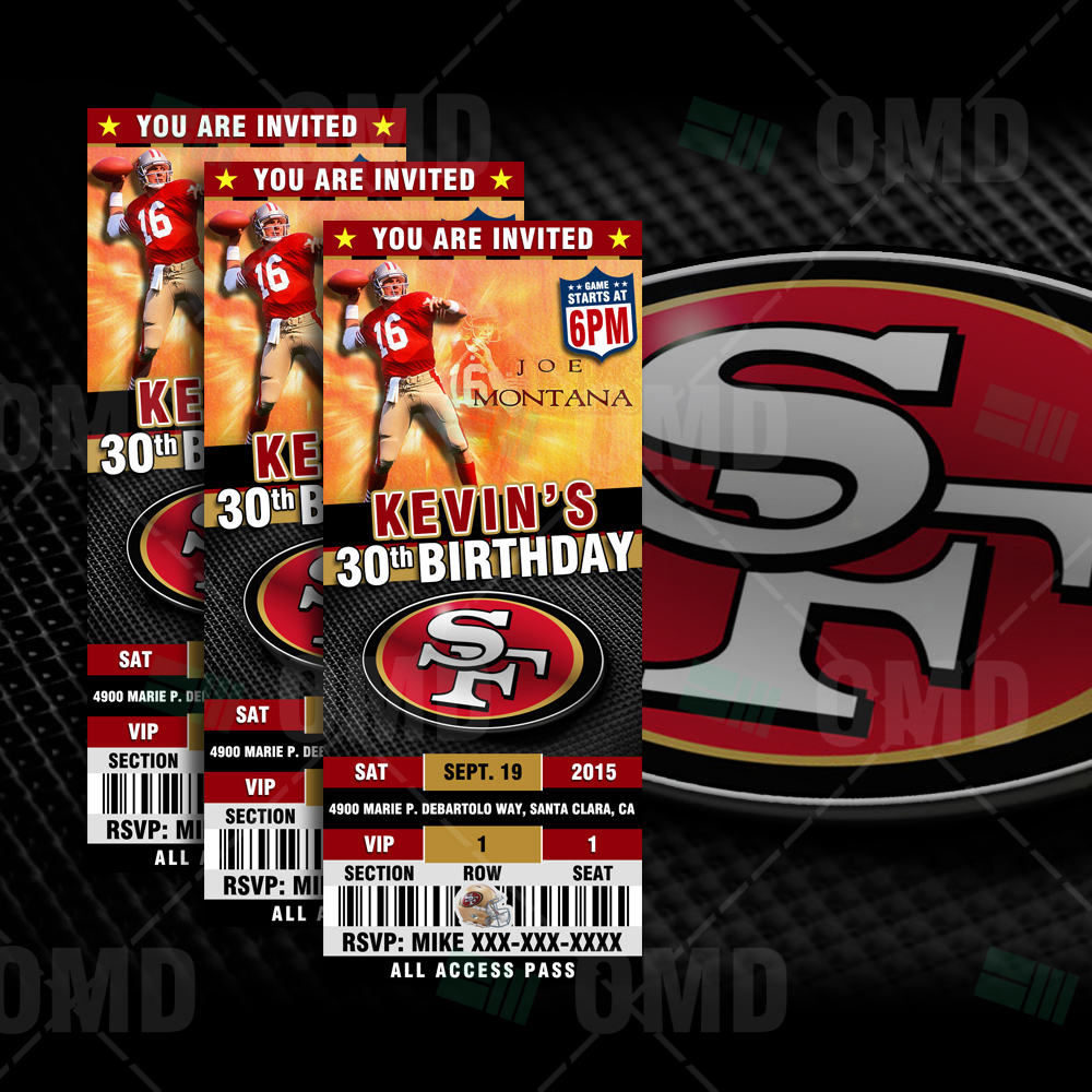 San Francisco 49ers Sports Party Invitations 25x6
