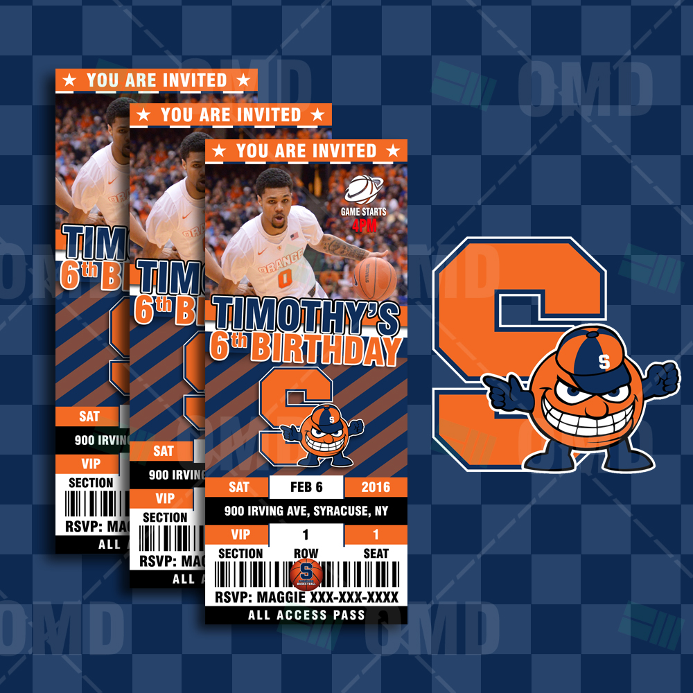 Syracuse Orange Basketball Sports Ticket Style Party Invites