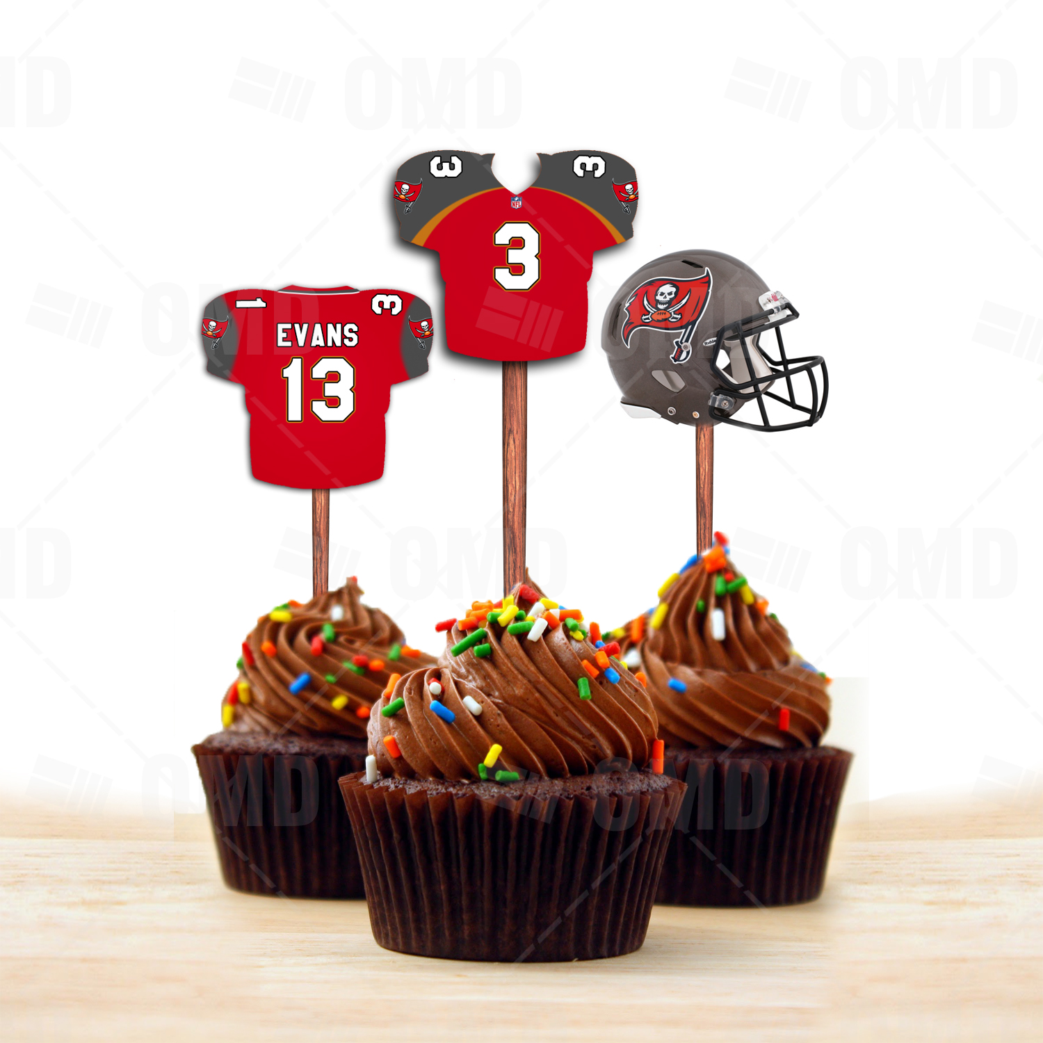 Tampa Bay Buccaneers Cupcake Toppers, Assorted Double Sided – Sports ...