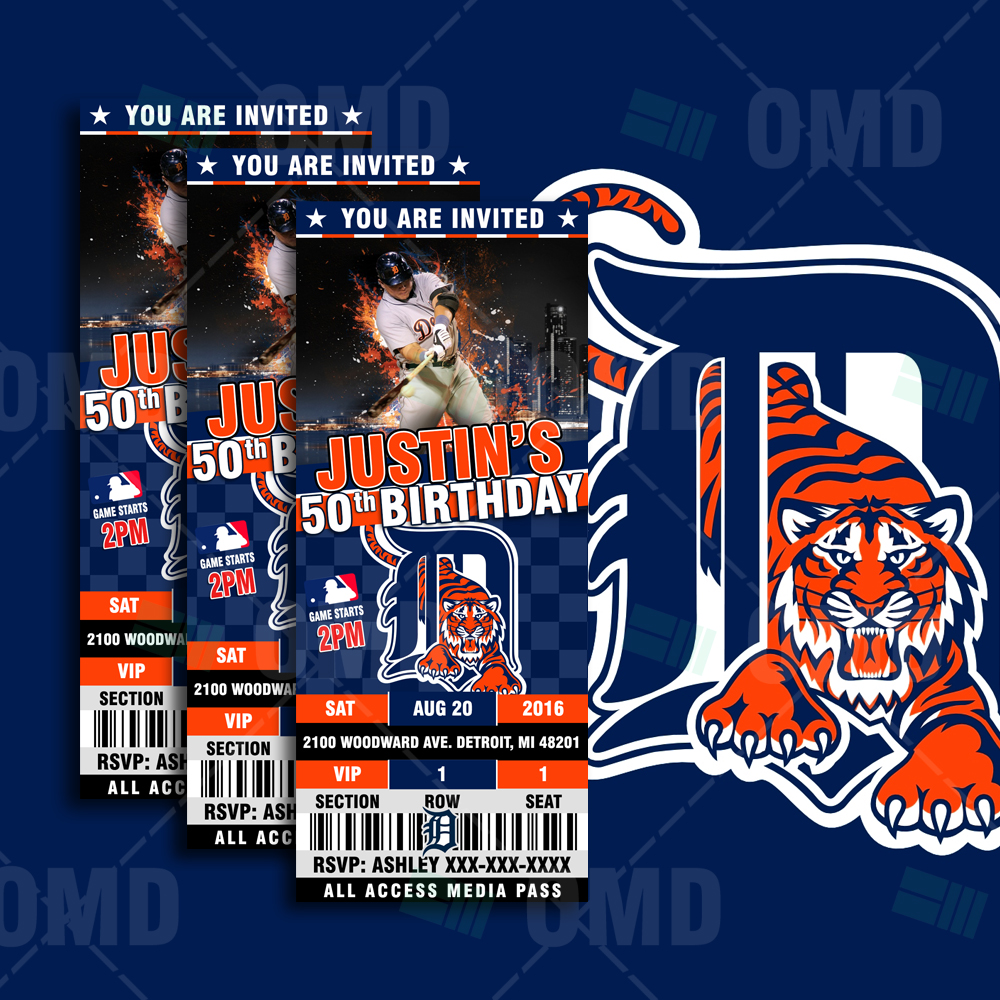 2 5 6 Detroit Tigers Baseball Sports Party Invitations Sports Invites