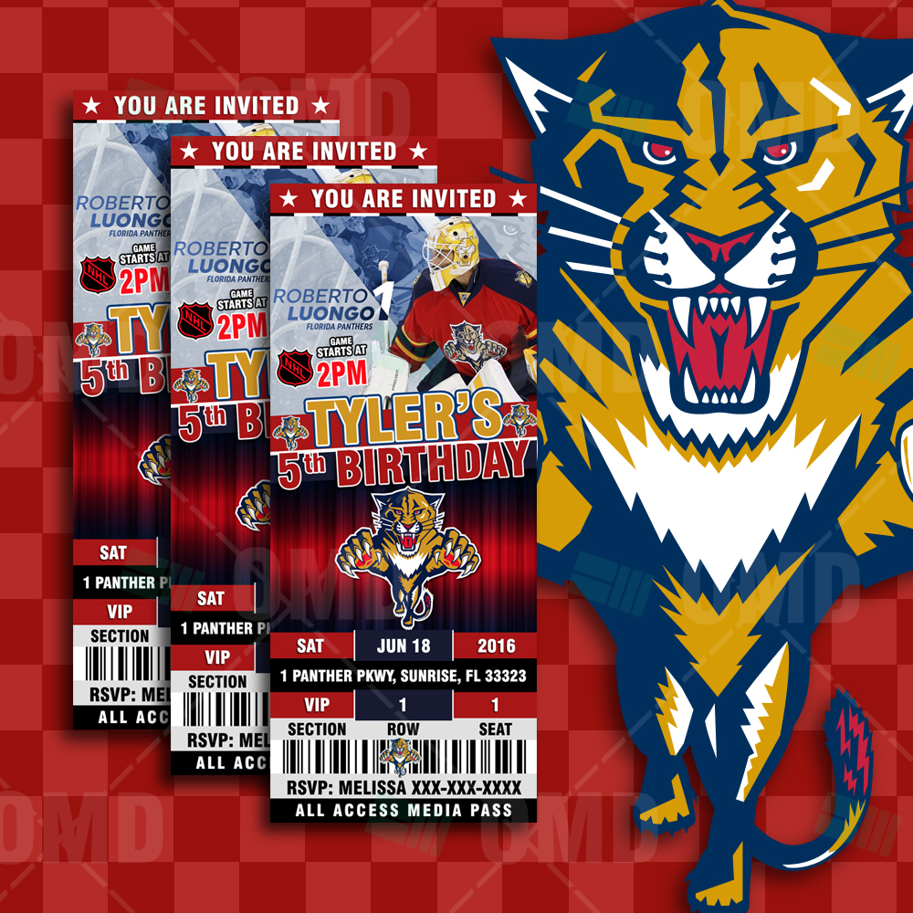 78d67ed1342 ... Invitations Florida Panthers Ticket Style Sports Party Invitations.   