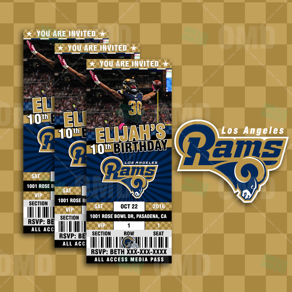 Los Angeles Rams Custom Ticket Style Sports Party Invites Sports