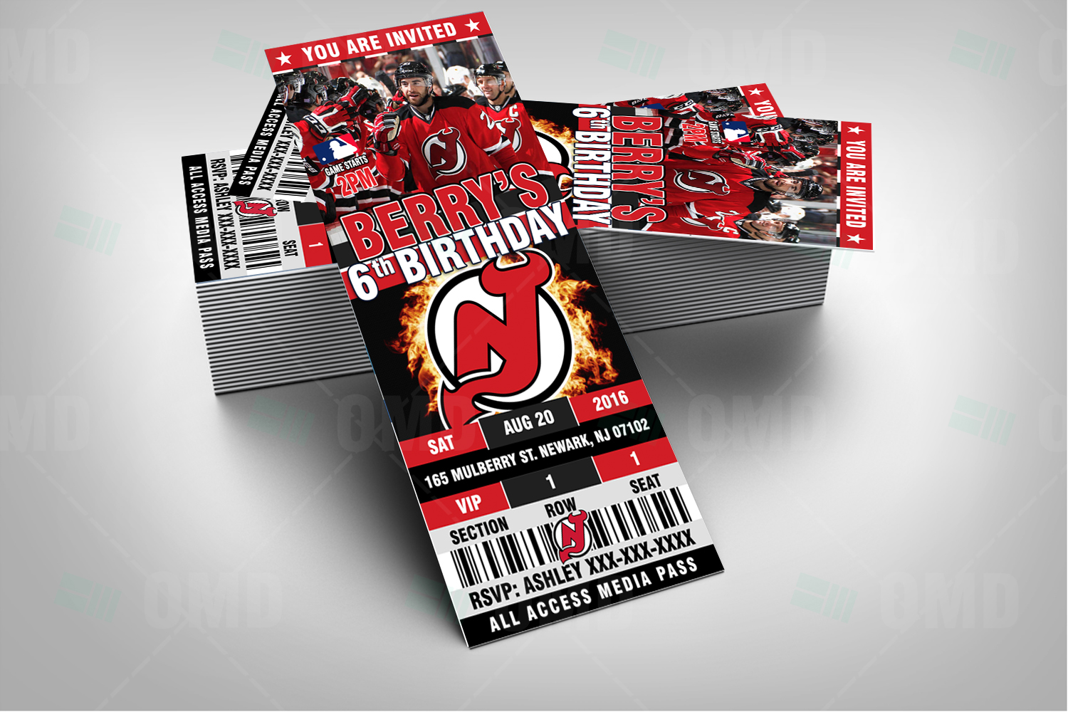 outlet store 4946a 67e81 2.5×6″ New Jersey Devils Hockey Sports Party Invitations ...