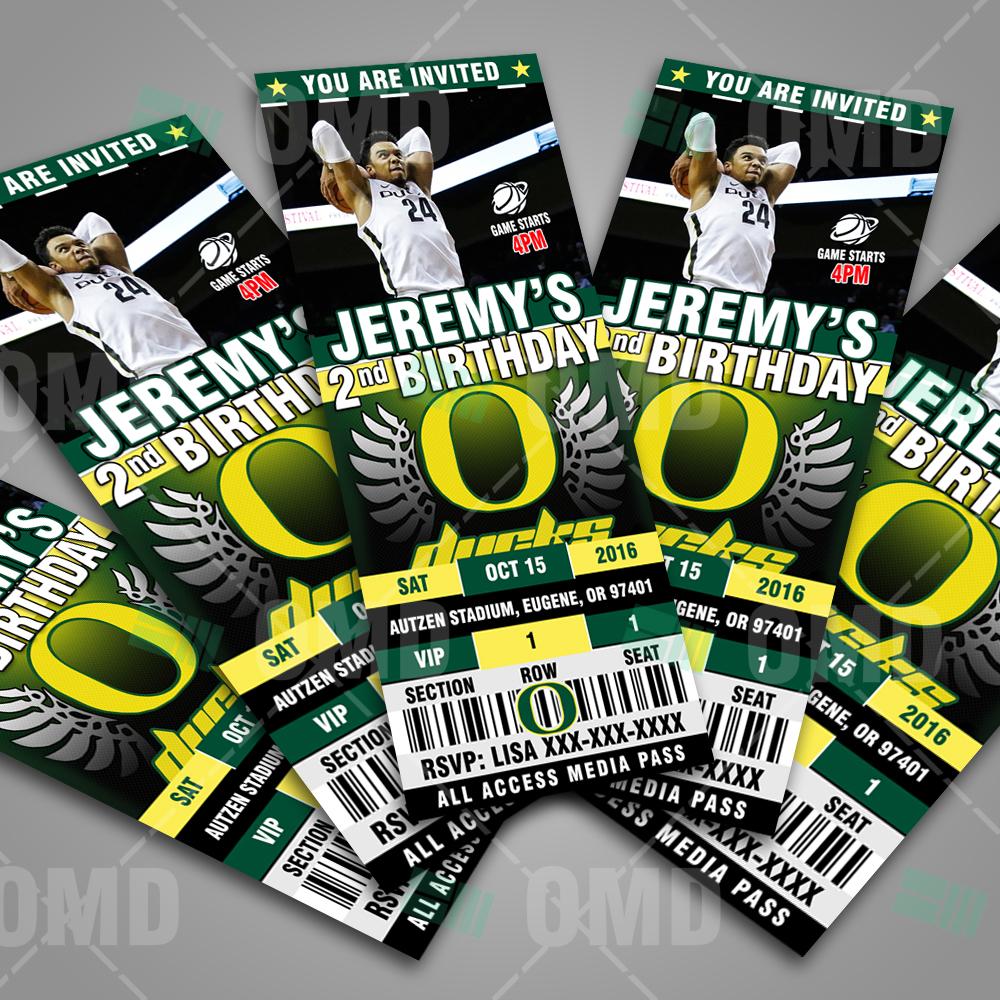 Oregon Ducks Basketball Ticket Style Sports Party Invites – Sports ... 53bf438eb6d
