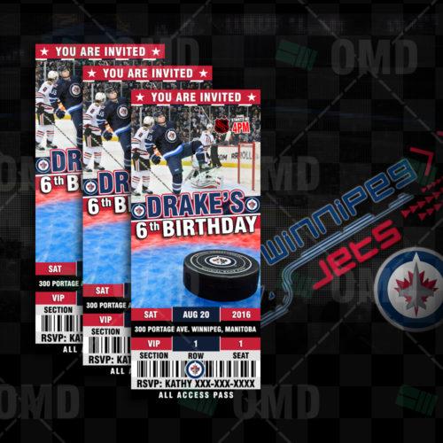 7505b4aa880 Winnipeg Jets Ticket Style Sports Party Invitations – Sports Invites