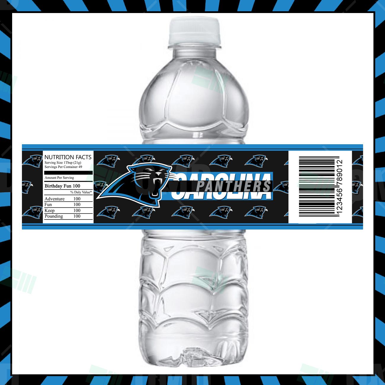 Carolina Panthers Football Bottle Labels