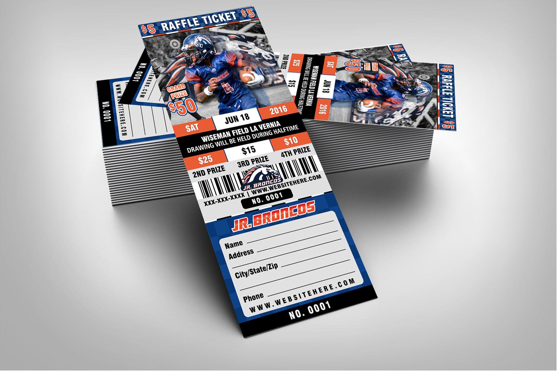 halftime football raffle ticket style template  u2013 sports