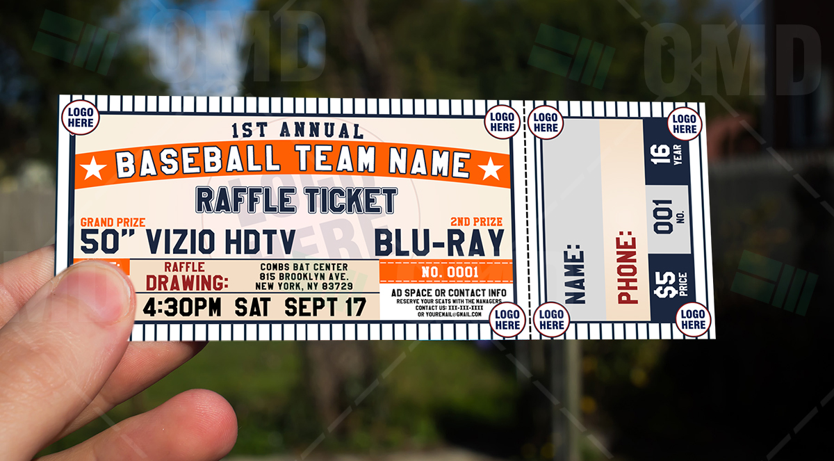 classic baseball raffle ticket template  u2013 sports invites