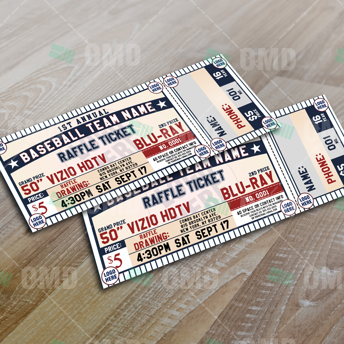 Classic Baseball Raffle Ticket Template