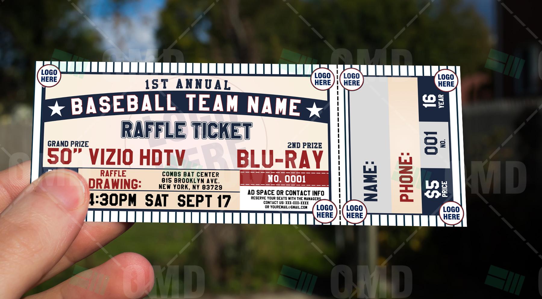 classic baseball raffle ticket template  u2013 sports invites