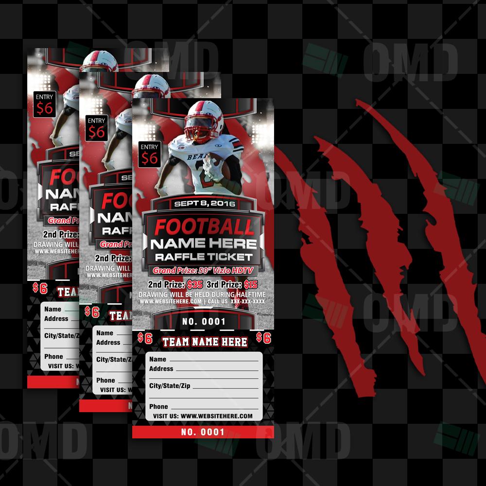 halftime football raffle ticket template sports invites