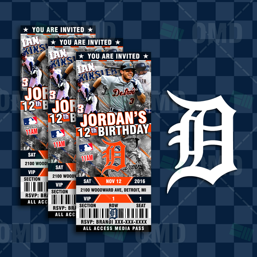 Invitations Custom Detroit Tigers Baseball Ticket Style Party Invites