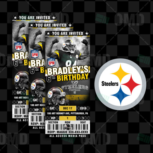 Pittsburgh Steelers Ticket Style Sports Party Invitations 331df0925