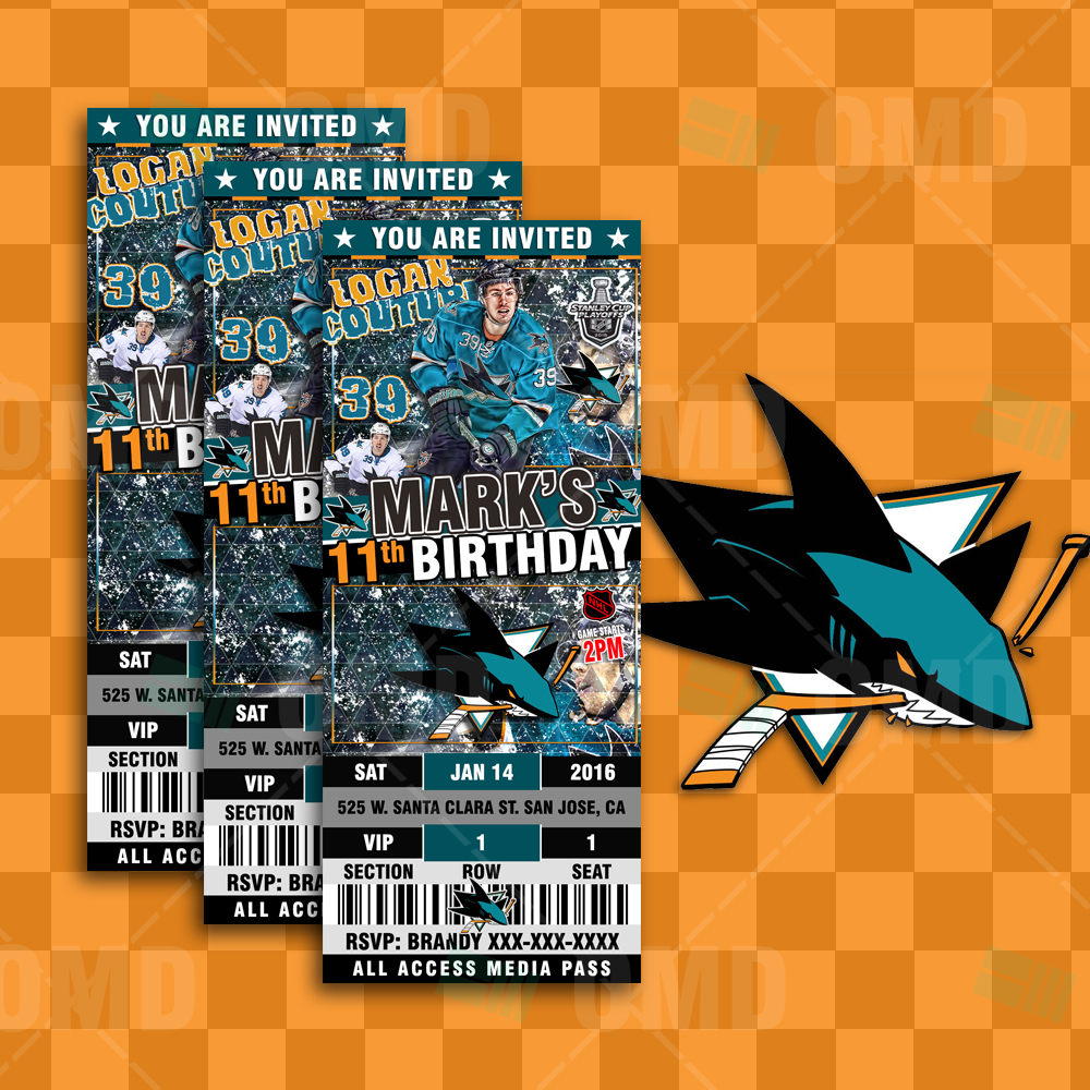 Invitations San Jose Sharks Hockey Ticket Style Sports Party