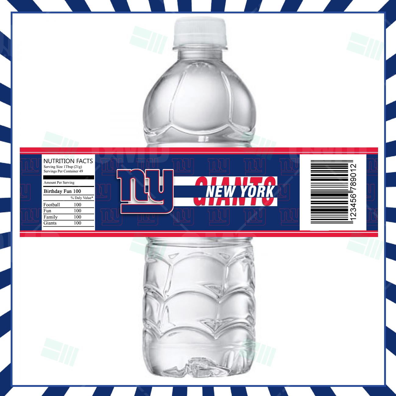 New York Giants Football Bottle Labels