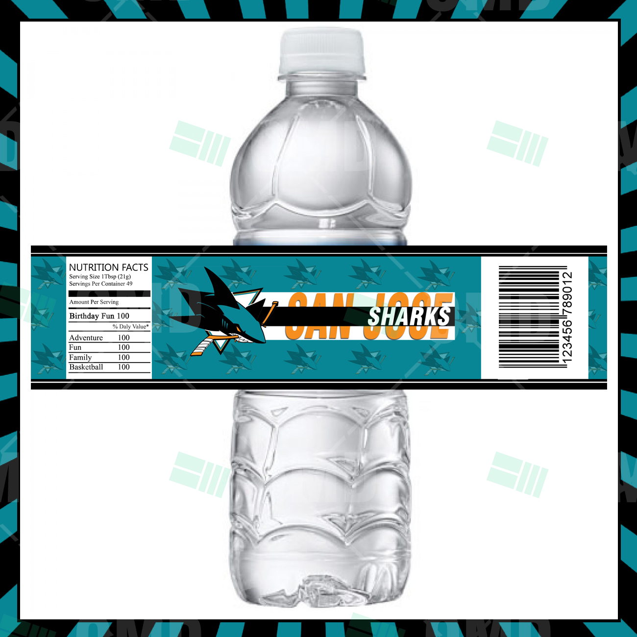 San Jose Sharks Hockey Bottle Labels Sports Invites