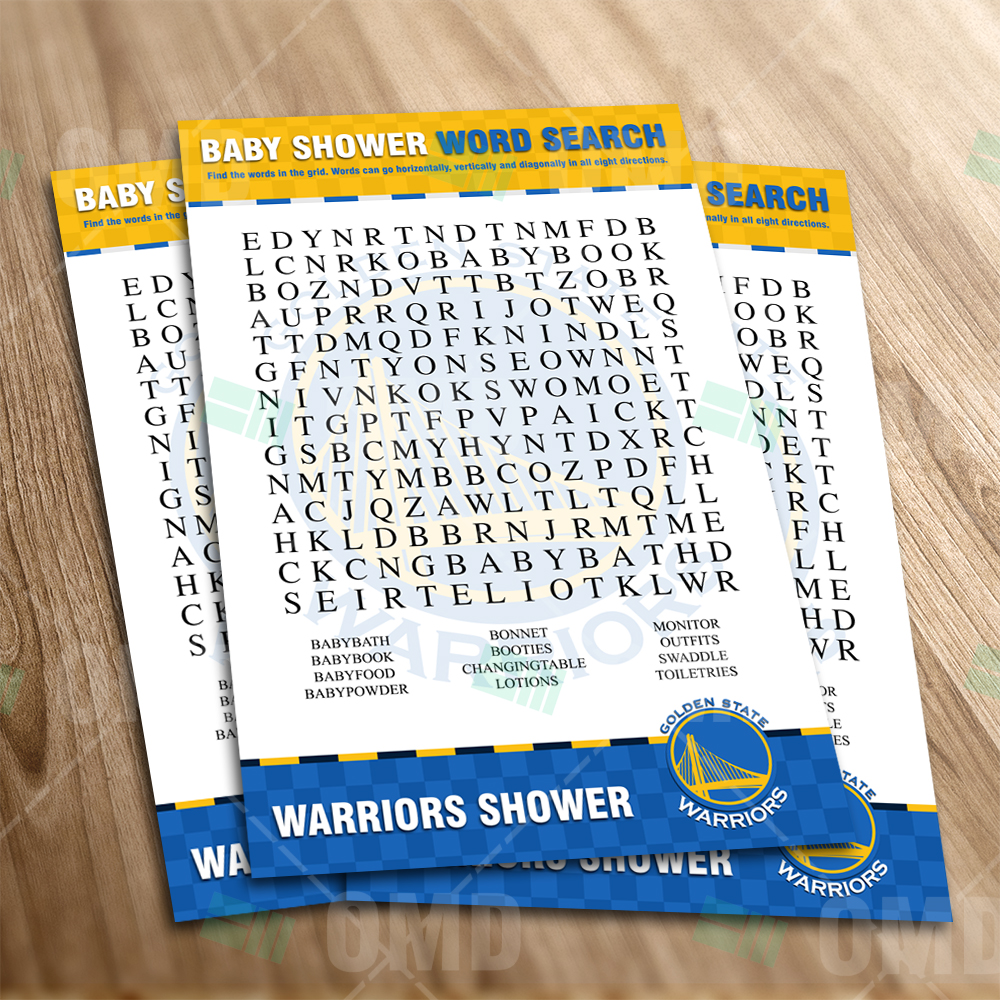 Golden state warriors word search baby shower game sports invites golden state warriors word search baby shower game filmwisefo