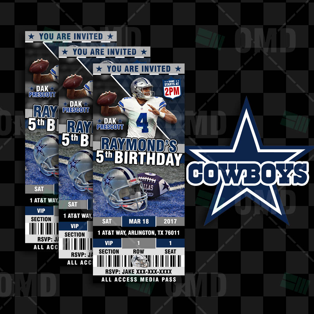 Dallas Cowboys Invites Ticket Style Sports Party Sports Invites
