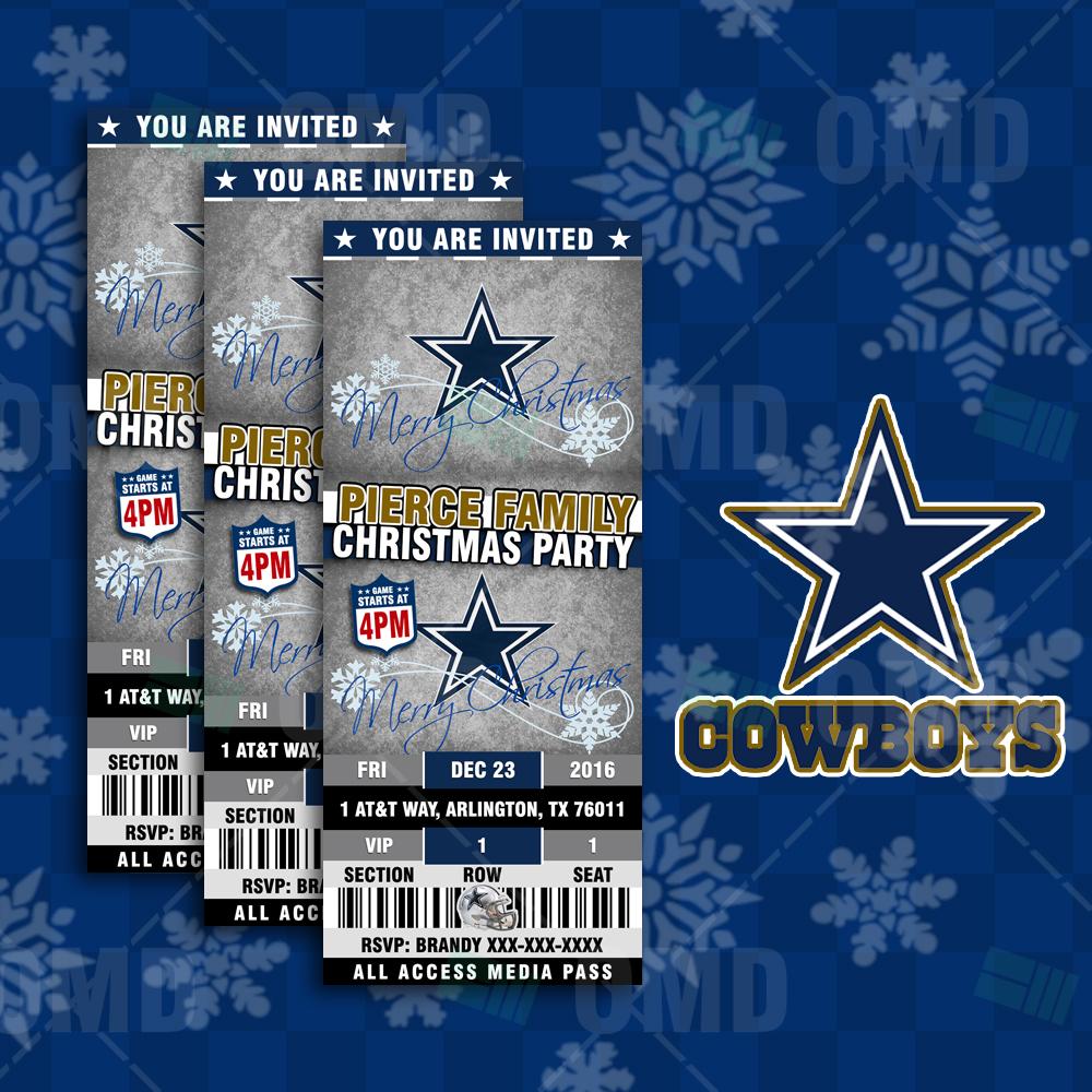 Dallas cowboys christmas sports invitations sports invites - Dallas cowboys merry christmas images ...