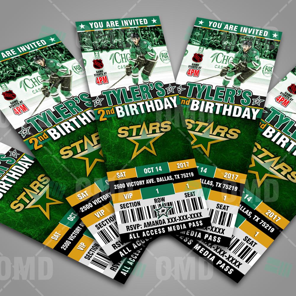 dallas stars ticket style sports party invitations sports invites
