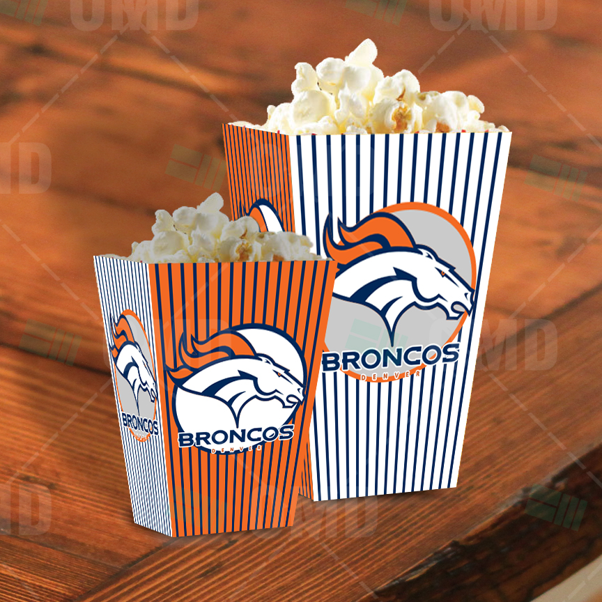 Denver Broncos Sports Party Popcorn Boxes Sports Invites