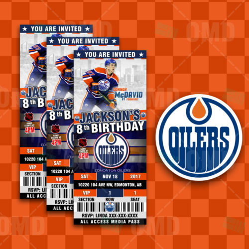 ad1845ef55c 2.5×6 Edmonton Oilers Sports Party Invitations – Sports Invites
