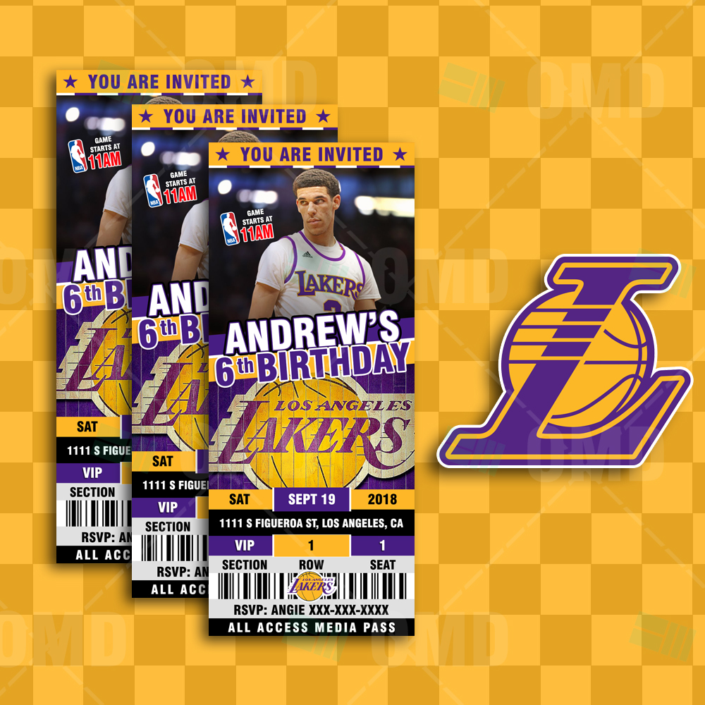 f331380e9 ... Invitations Los Angeles Lakers Sports Ticket Style Party Invites.   