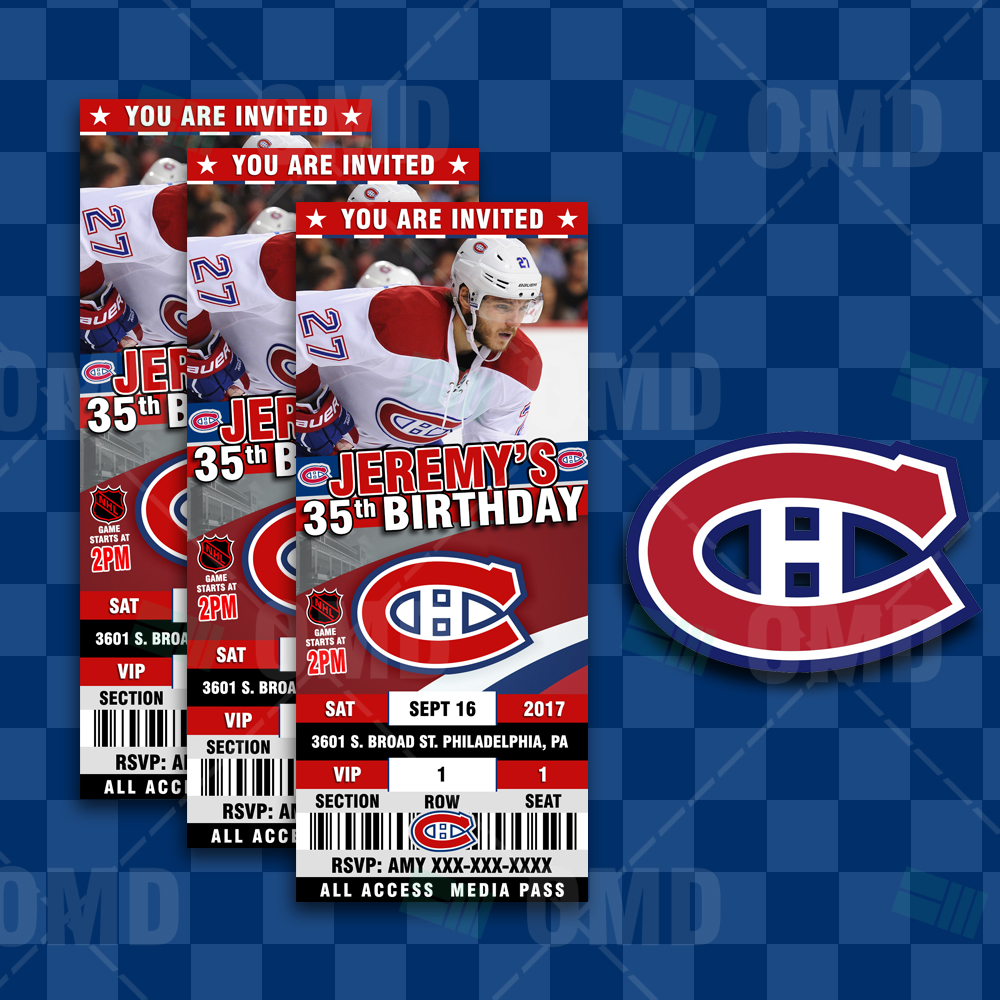 Montreal Wedding Invitations: Montreal Canadiens Ticket Style Sports Party Invitations
