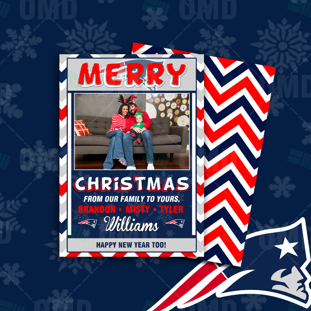 """New England Patriots """"Merry Christmas"""" Cards – Sports Invites"""