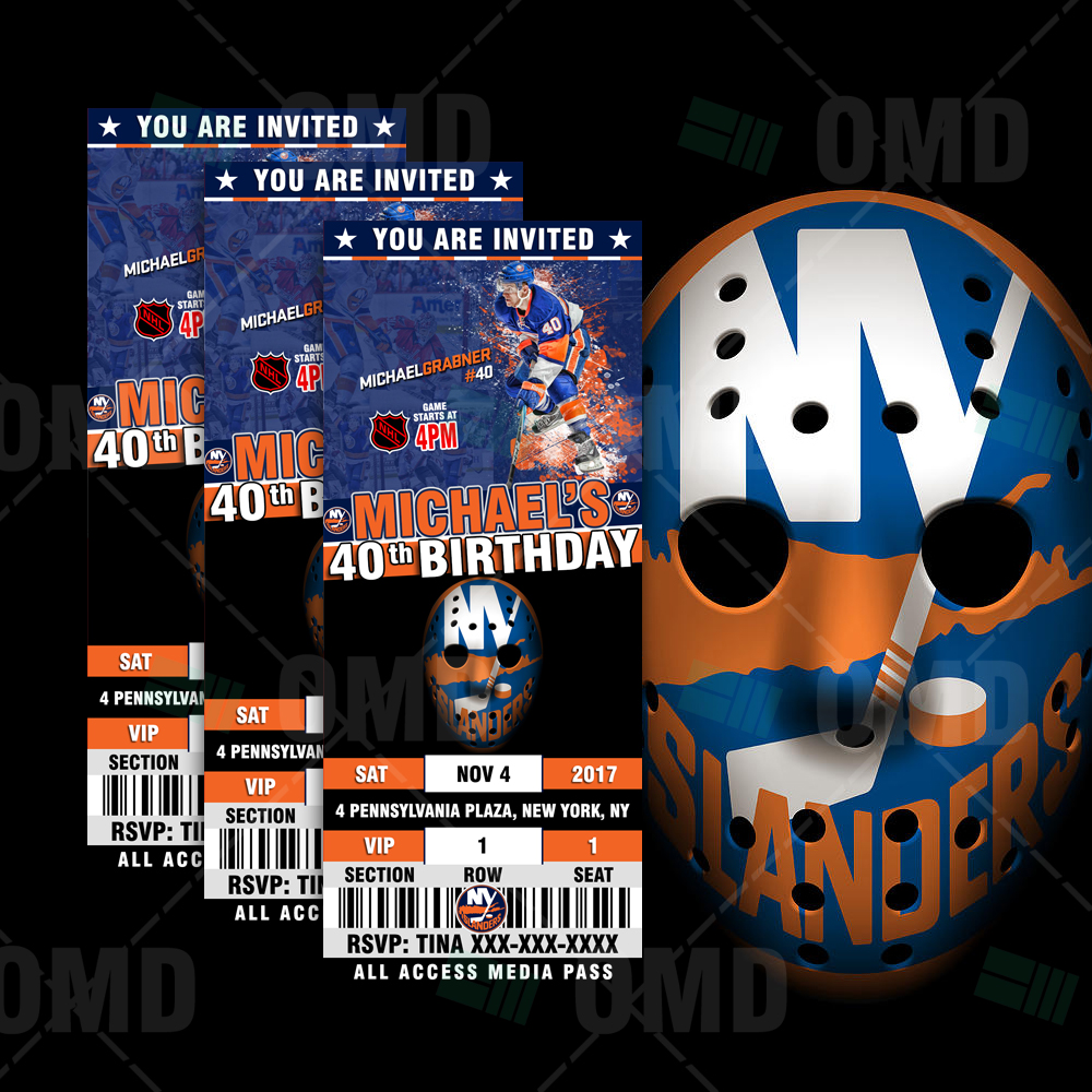90659976a66 New York Islanders Ticket Style Sports Party Invitations – Sports ...