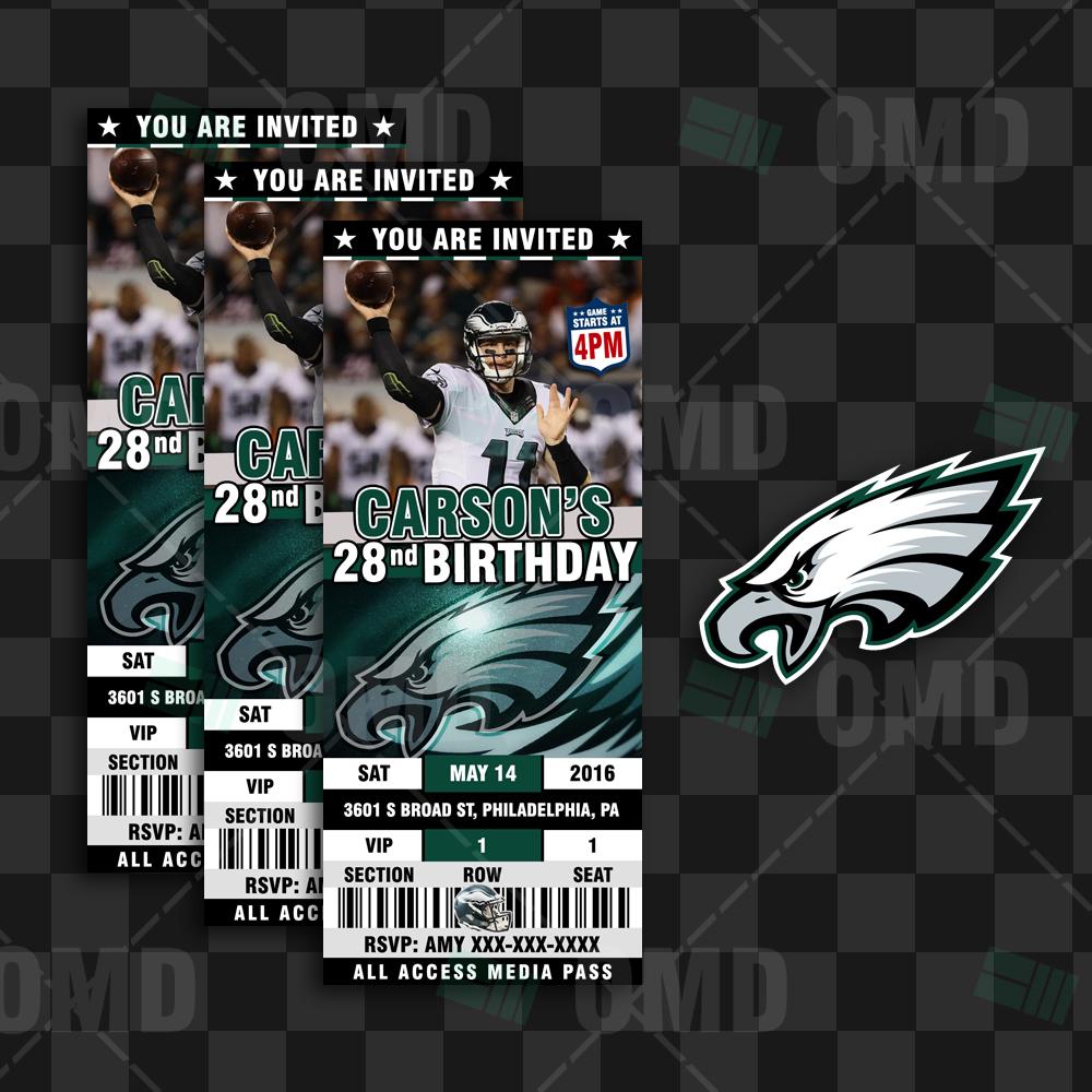 Philadelphia Eagles Sports Party Invitations Sports Invites