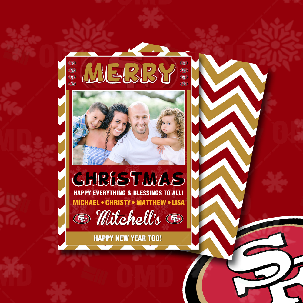 """San Francisco 49ers """"Merry Christmas"""" Cards – Sports Invites"""