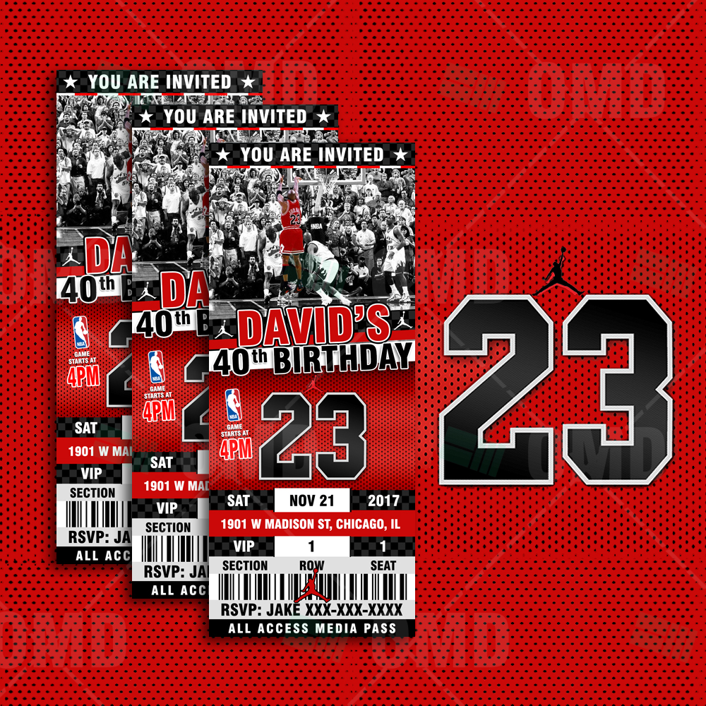 ca95611387c ... Invitations/Air Jordan Ticket Style Sports Party Invites. ; 