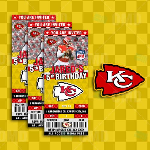 Kansas City Chiefs Ticket Style Sports Party Invitations