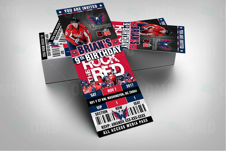 27b7c27a635 ... Invitations Washington Capitals Ticket Style Sports Party Invites.   
