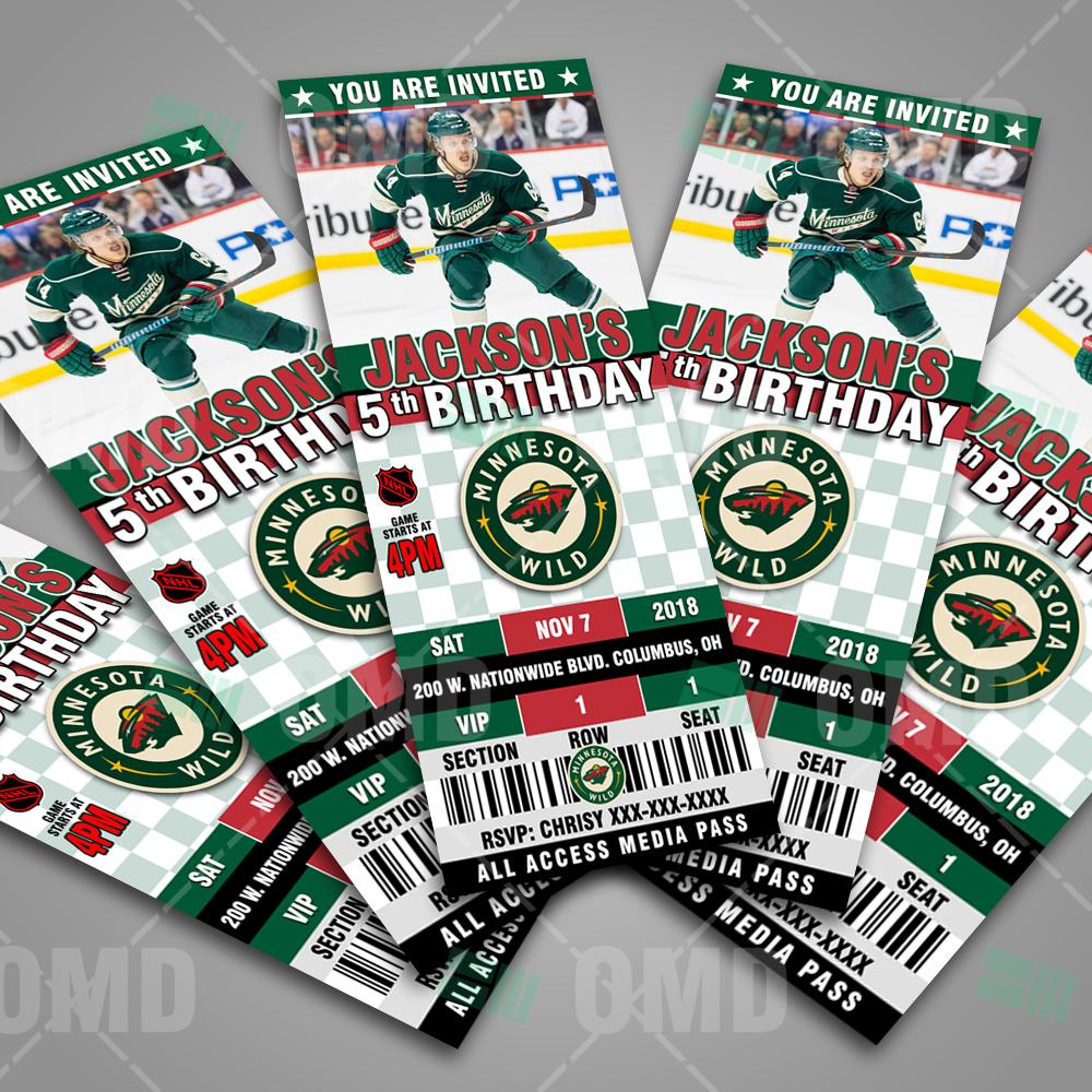 Minnesota Wild Ticket Style Sports Party Invites – Sports