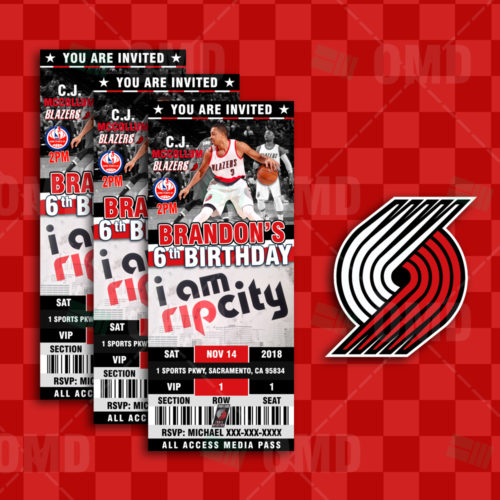 Portland Blazers Schedule: 2.5×6″ Portland Trail Blazers Sports Ticket Style Party