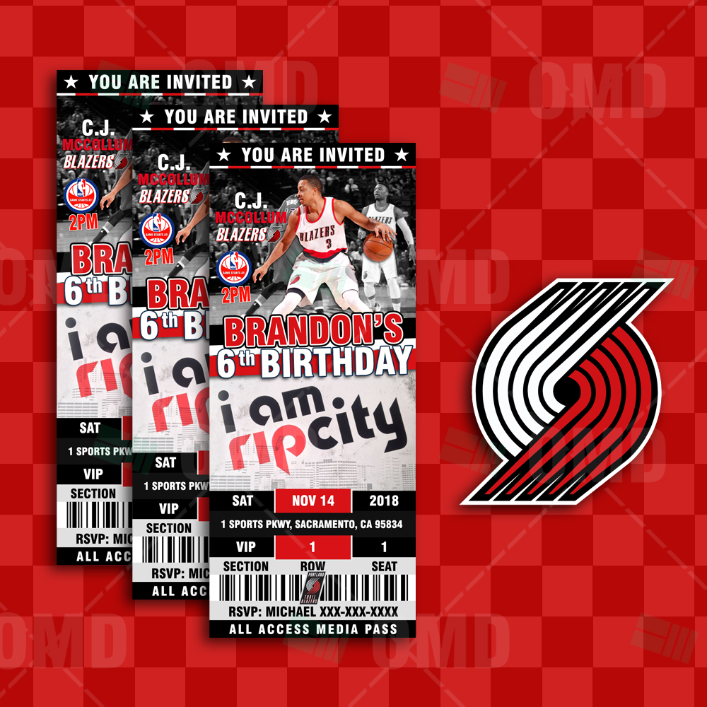 various design cheaper 2018 shoes Portland Trail Blazers Sports Ticket Style Party Invites ...