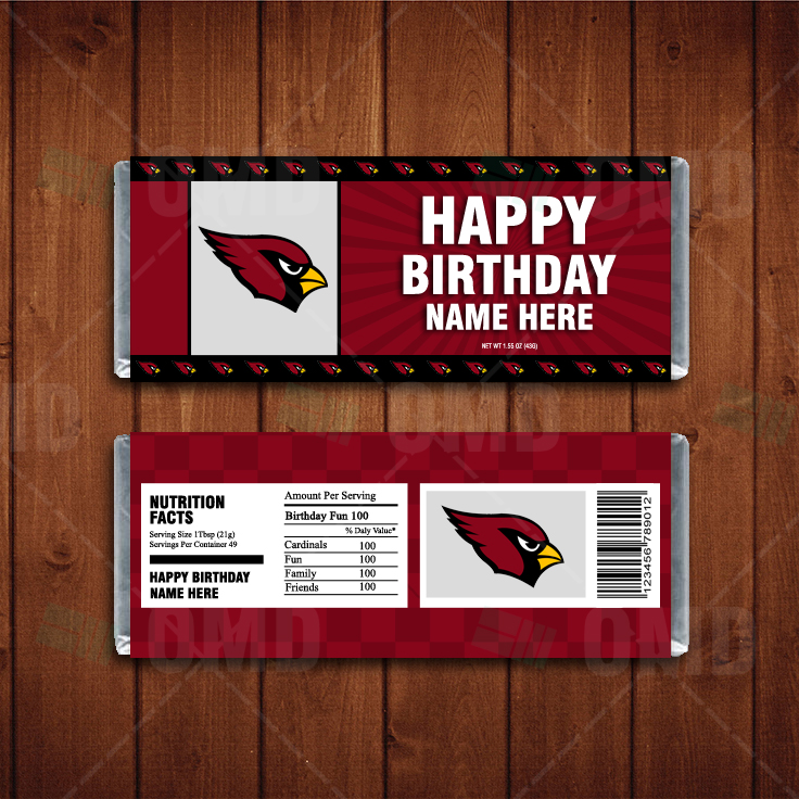 sports shoes b2414 33773 Arizona Cardinals Custom Candy Bar Wrappers