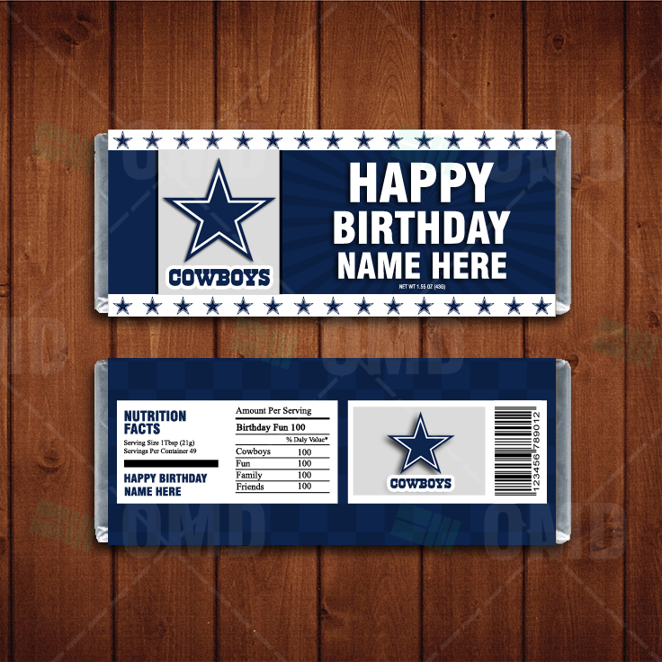 Dallas Cowboys Custom Candy Bar Wrapper Sports Invites