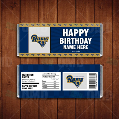 Los Angeles Rams Custom Candy Bar Wrappers