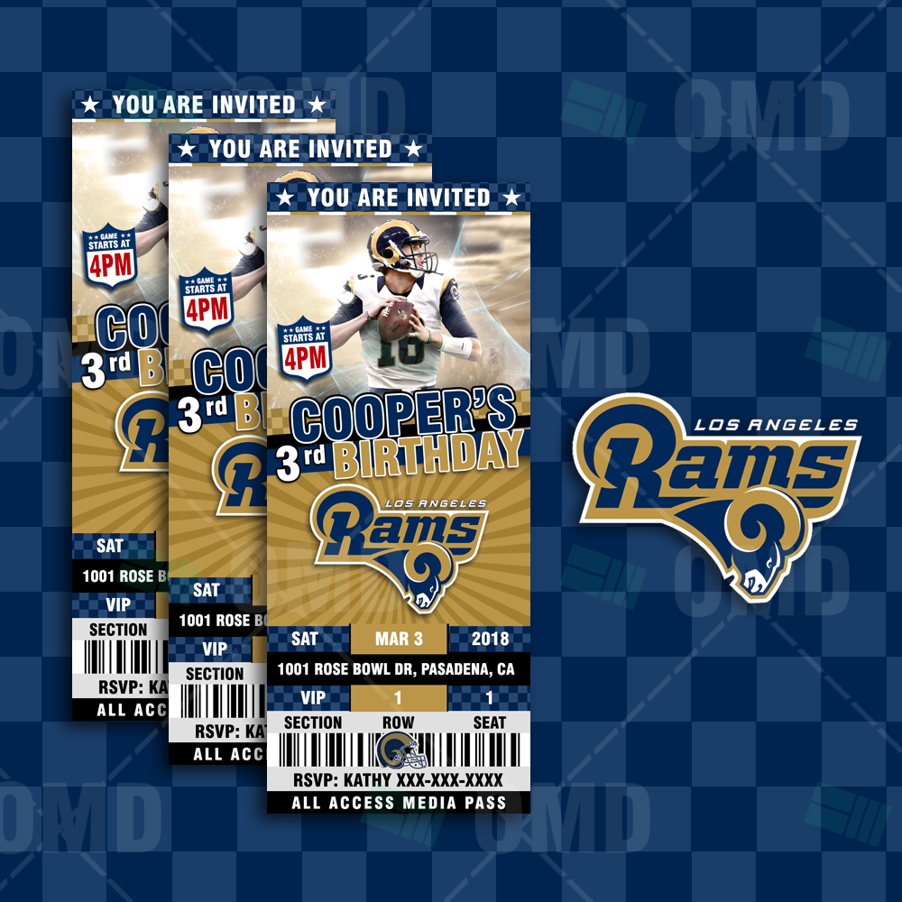 Los Angeles Rams Ticket Style Sports Party Invites Sports Invites