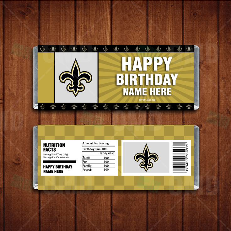 New Orleans Saints Custom Candy Bar Wrappers Sports Invites