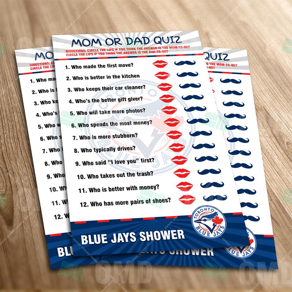 wholesale dealer cd2b9 f8f10 Toronto Blue Jays - Mom or Dad Baby Shower Game